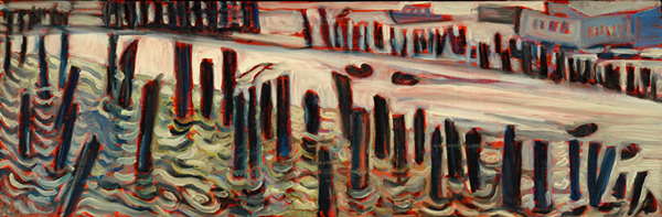Pilings - Oil on Canvas 10h x 30w