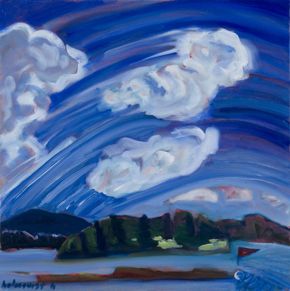 Clouds Blowing over Long Ledge - 20w x 20h Oil on Canvas